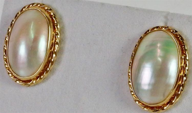 10K Gold Mabe Pearl Earrings