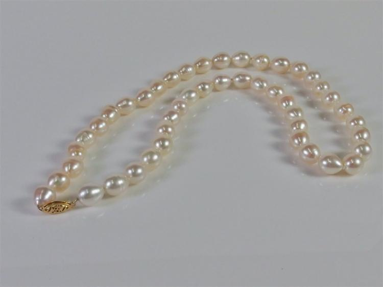 14K Gold Pearl Necklace, 20""