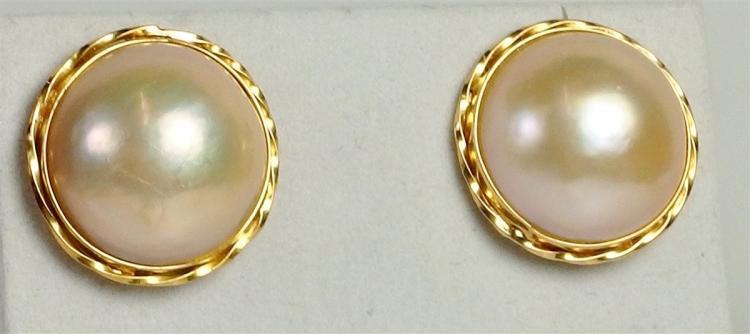 Lot 117: 14K Gold Mabe Pearl Earrings