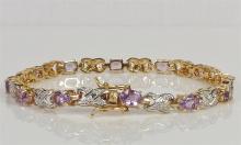 """Lot 119: 14K Gold over Sterling Amethyst Bracelet, 7-1/2"""""""