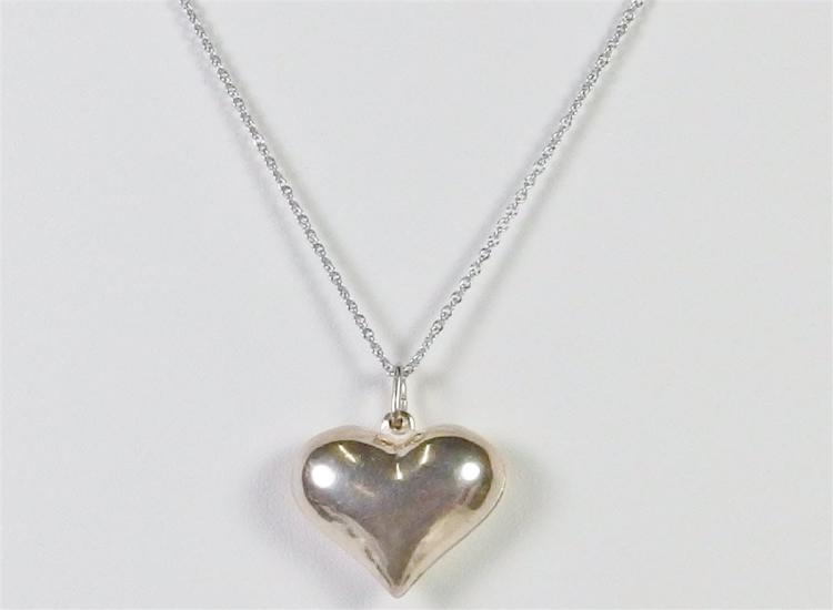 """Lot 120: Sterling Puffy Heart Necklace, 18"""""""