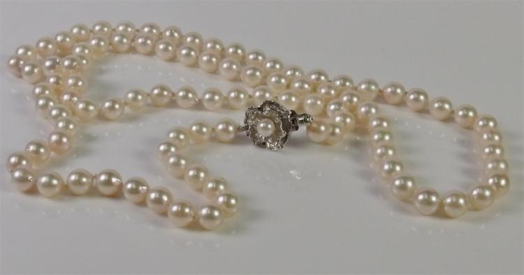 """Lot 127: Silver Pearl Necklace, 30"""""""