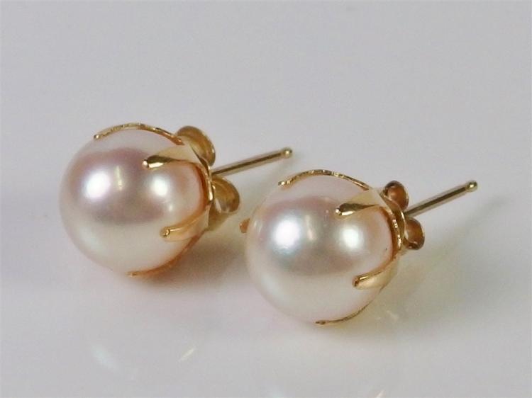 14K Gold Pearl Earrings