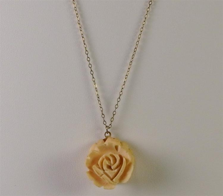 "1940's 1/20 12K Gold Ivory Rose Necklace, 16"" Chain"