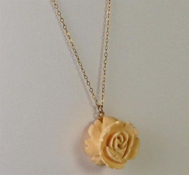 """Lot 129: 1940's 1/20 12K Gold Ivory Rose Necklace, 16"""" Chain"""