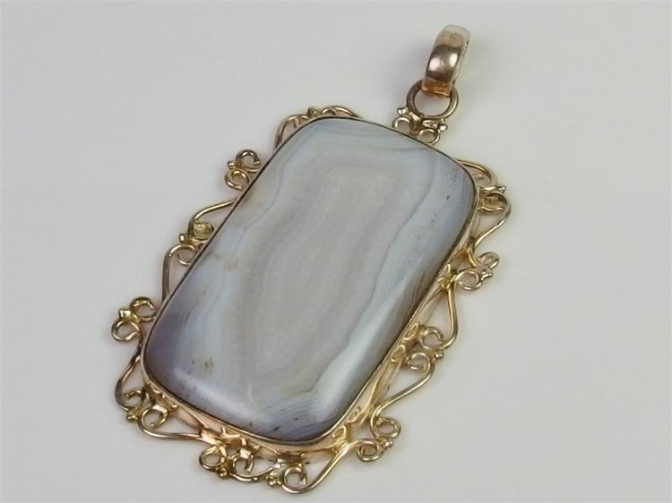 Sterling Iris Agate Pendant, 104 cts, 2-1/2""