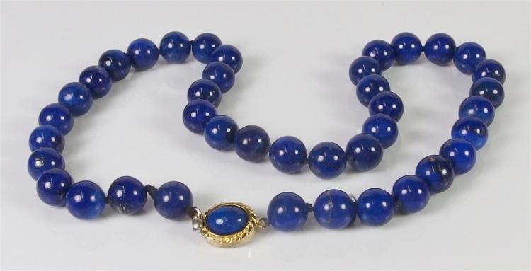 "Lapis Lazuli Beaded Necklace, 18"""