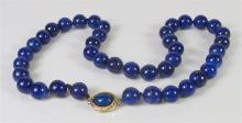 "Lot 134: Lapis Lazuli Beaded Necklace, 18"""