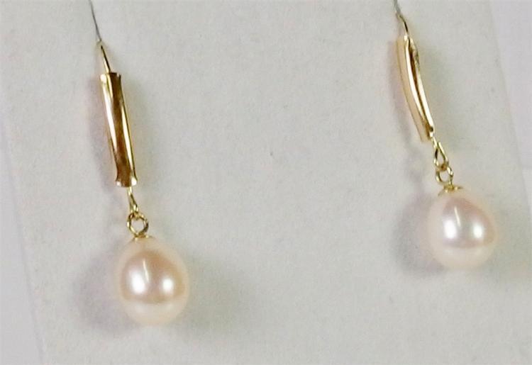 """Lot 135: 14K Gold Pearl Earrings, 1-1/4"""""""