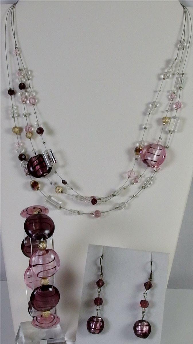 Venetian Glass Necklace, Bracelet, Earrings