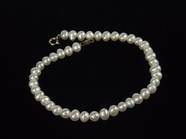 """14K Gold Pearl Bracelet, 7-1/2"""""""