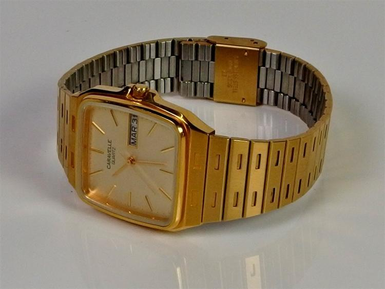 Lot 143: 1988 Bulova Caravelle Quartz Water Resistant Mens Watch, 8-3/8""