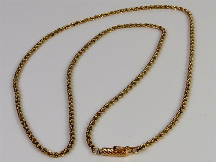 "14K Gold Diamond Cut Rope Chain Necklace, 20"". 7.7g"
