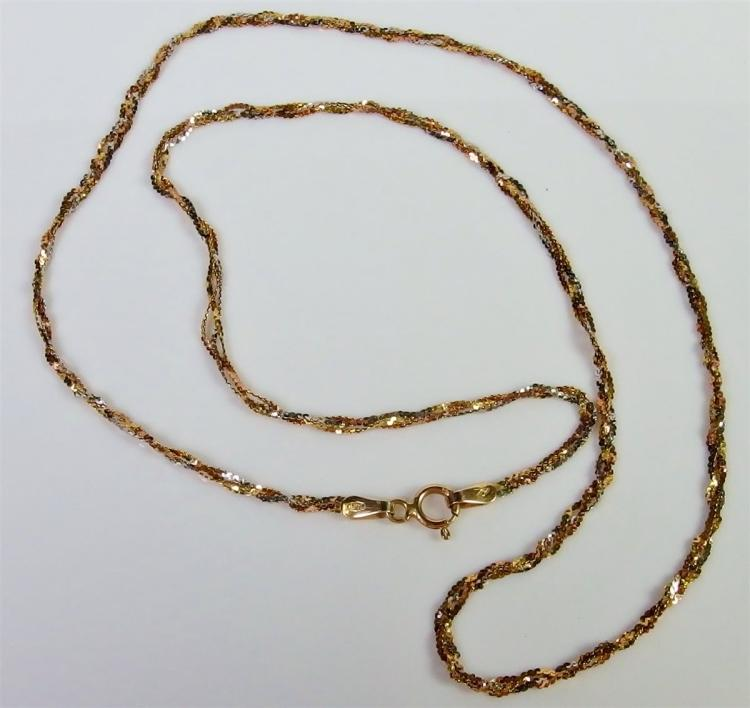 "14K Gold Braided Chain Necklace, 18-1/2"". 2.4g"