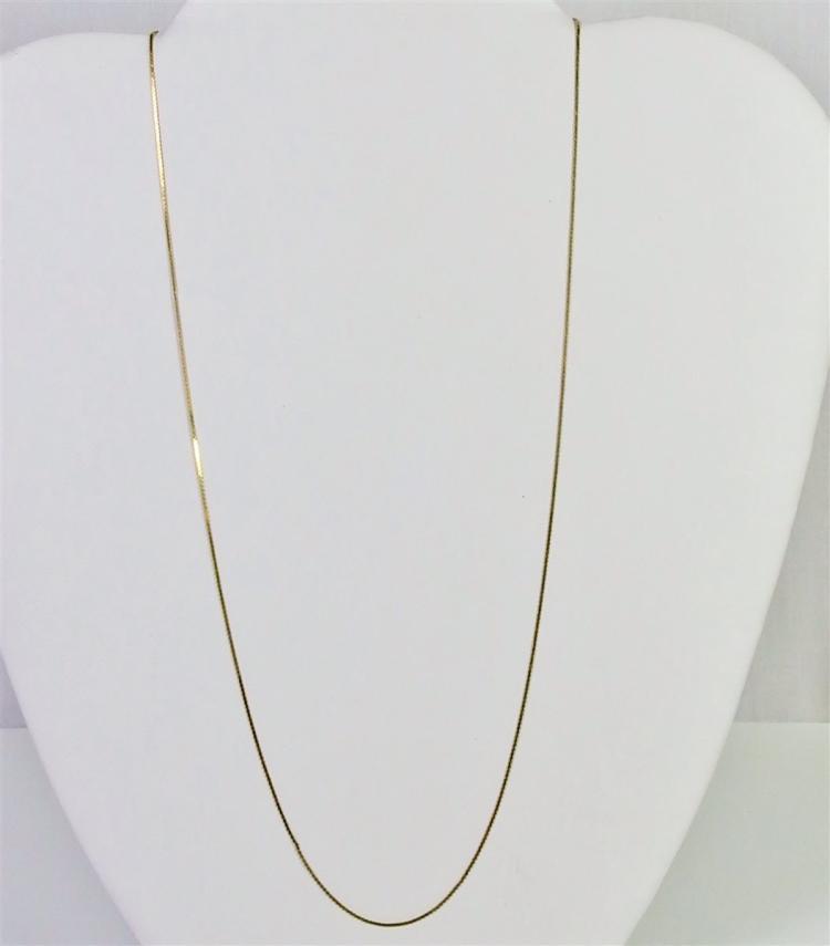 """Lot 150: 14K Gold Fine Serpentine Chain Necklace, 20"""". 0.9g"""