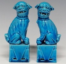 Pair of Chinese Turquoise Blue Foo Dogs on Plinth