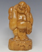 Carved Hardwood Happy Buddha Standing, 8 1/2