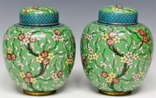 Early 20th Century Pair of Chinese Cloisonne Ginger Jars