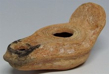 Byzantine Oil Lamp with Cross, Late Roman Empire, 500-600 A.D.
