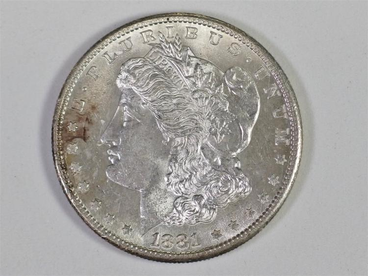 1881 S Uncirculated MORGAN Silver Dollar - 1881-S UNC - Toning