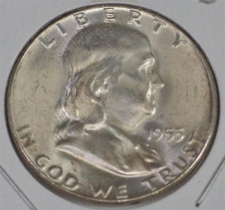 1955 FRANKLIN Half 90% Silver with a Brilliant clear luster, Satin portrait