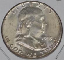 Lot 5: 1955 FRANKLIN Half 90% Silver with a Brilliant clear luster, Satin portrait