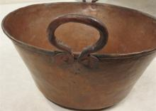 Lot 9: Large Antique Apple Butter Copper Pot, 22in. D.
