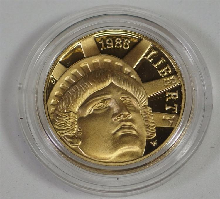 1986 Statue of Liberty ($5) Five Dollar 1/4 Ounce Gold Coin