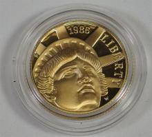 Lot 10: 1986 Statue of Liberty ($5) Five Dollar 1/4 Ounce Gold Coin