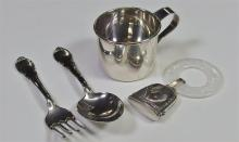 Lot 11: Antique Sterling Baby cup, Spoon, Fork, Teether with M.O.P. ring