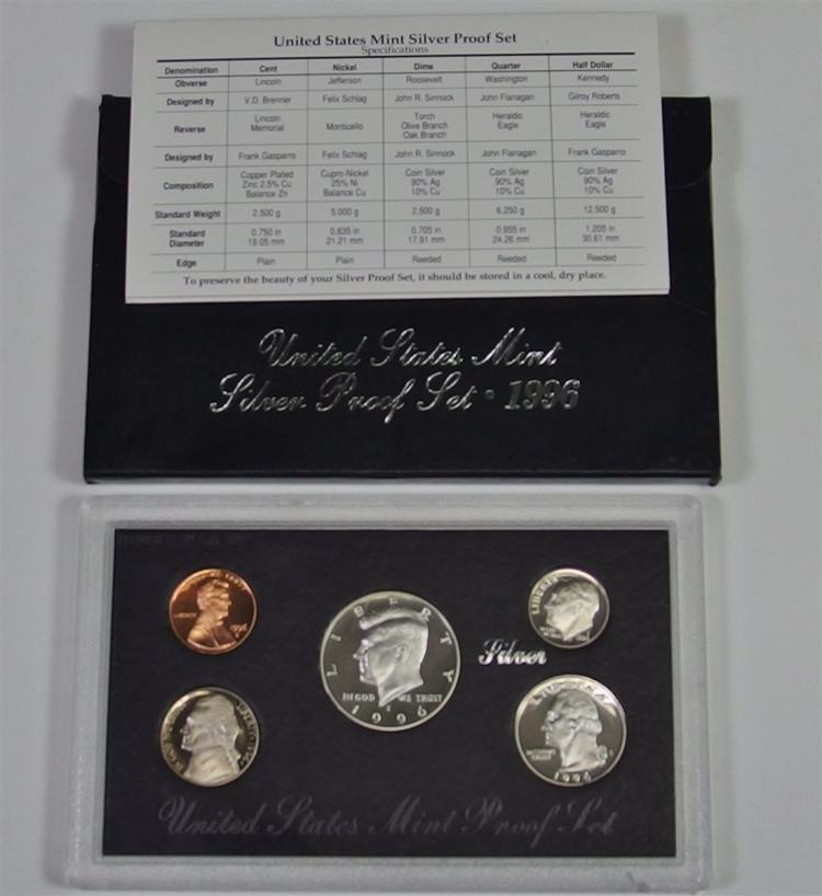 1996 United States Mint 90% SILVER PROOF SET in Box
