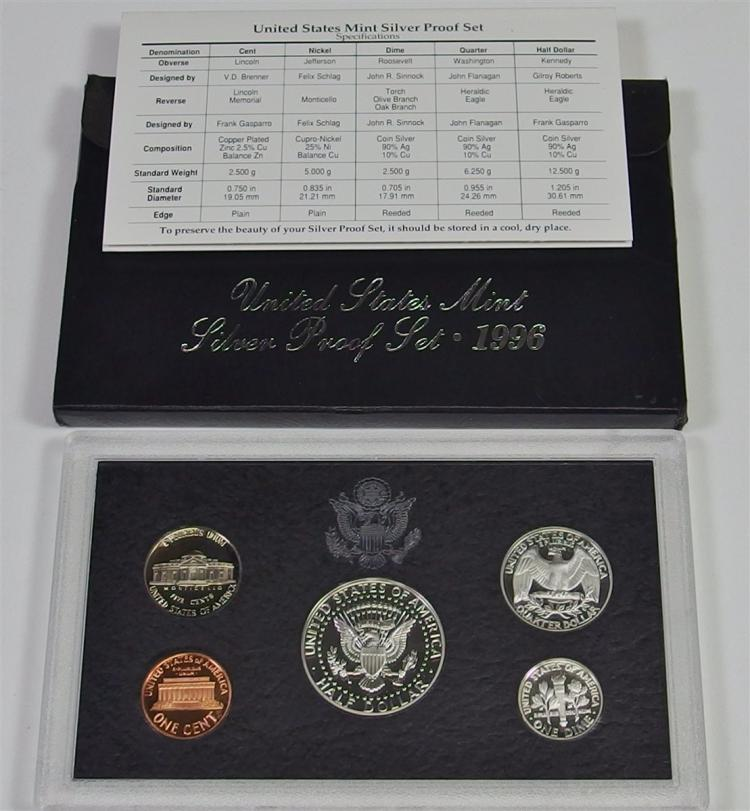 Lot 13: 1996 United States Mint 90% SILVER PROOF SET in Box