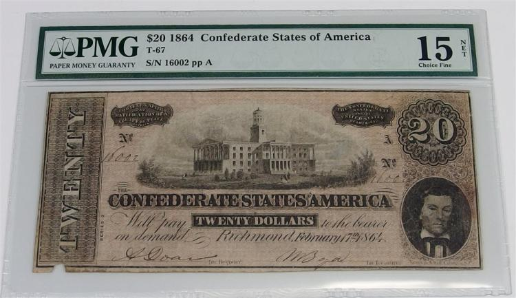 1864 CONFEDERATE States of America PMG Graded Currency 20 DOLLARS