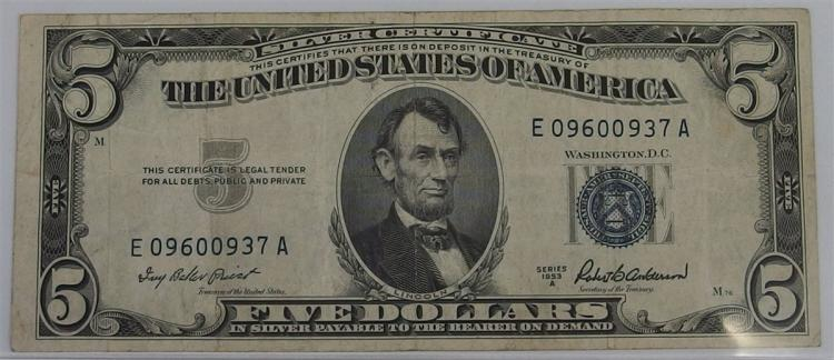 Five Dollar ($5) SILVER Certificate