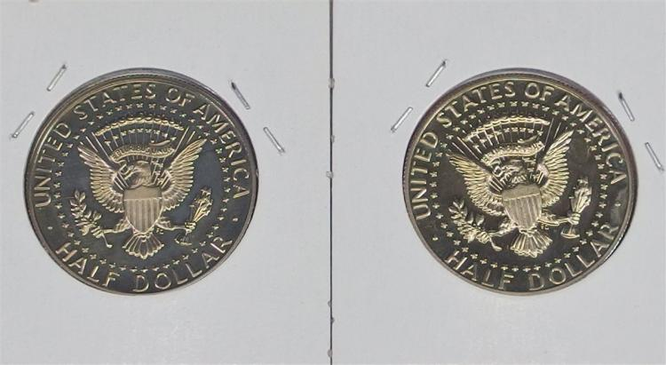 Lot 20: Lot of 2 - 1986 and 1988 S Mint Proof KENNEDY Half Dollars.