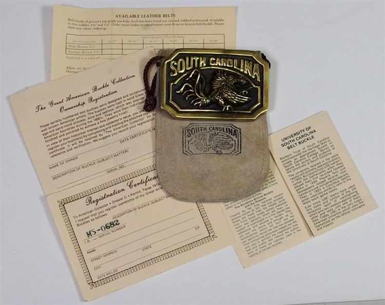 Lot 21: SOUTH CAROLINA GAMECOCKS Collectors Belt Buckle with Leather Pouch and C.O.A.
