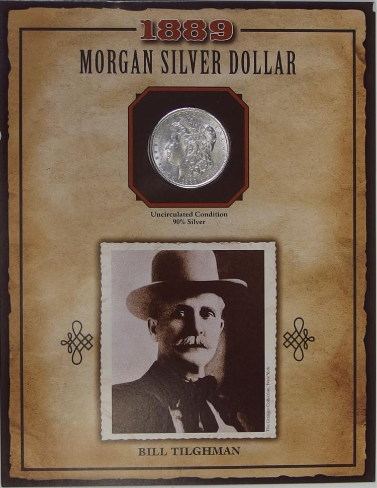 1889 MORGAN Silver Dollar - PCS Legends of West Coin & Stamp - BILL TILGHMAN