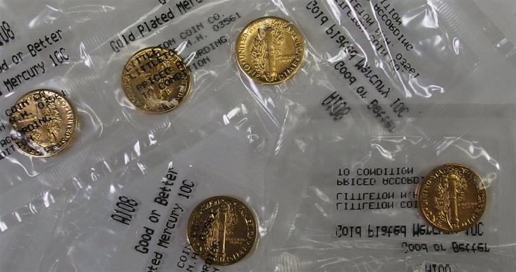 Lot 30: Set of 5 Gold Plated MERCURY Silver Dimes