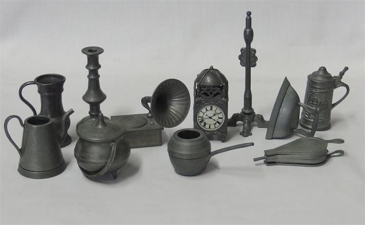 Collection of Pewter Miniature Household Items, Made in England, 11 pc.