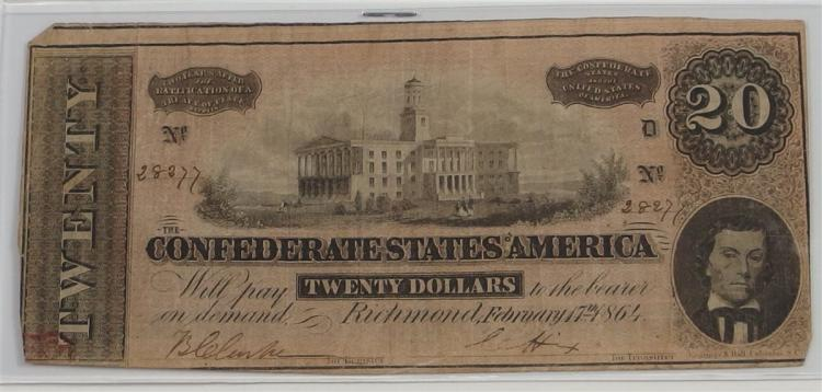 20 Dollar Confederate States of America  CSA Note