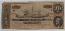 Lot 38: 20 Dollar Confederate States of America CSA Note