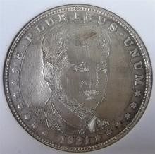 Lot 40: Modern Hobo Art with JFK on a Morgan Silver Dollar
