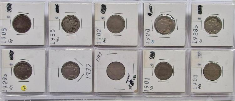 10 Buffalo and Victory Nickel Set