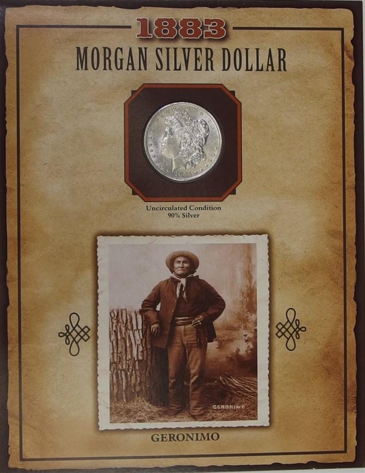 1883 MORGAN Silver Dollar - PCS Legends of West Coin & Stamp - GERONIMO