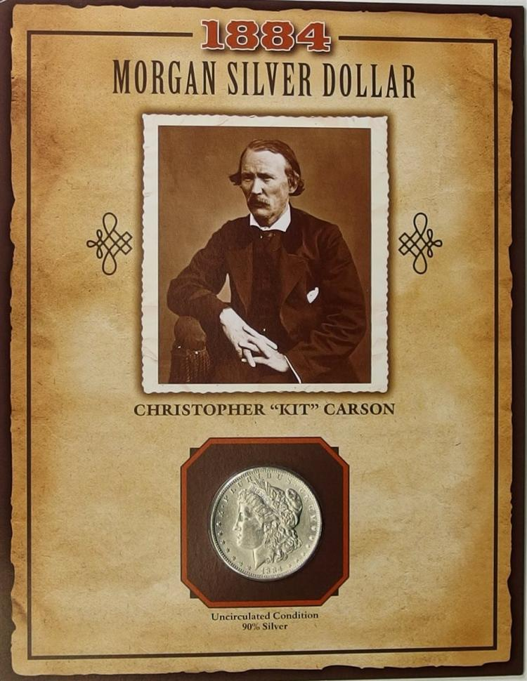 1884D MORGAN silver dollar - PCS Legends of West Coin & Stamp - KIT CARSON