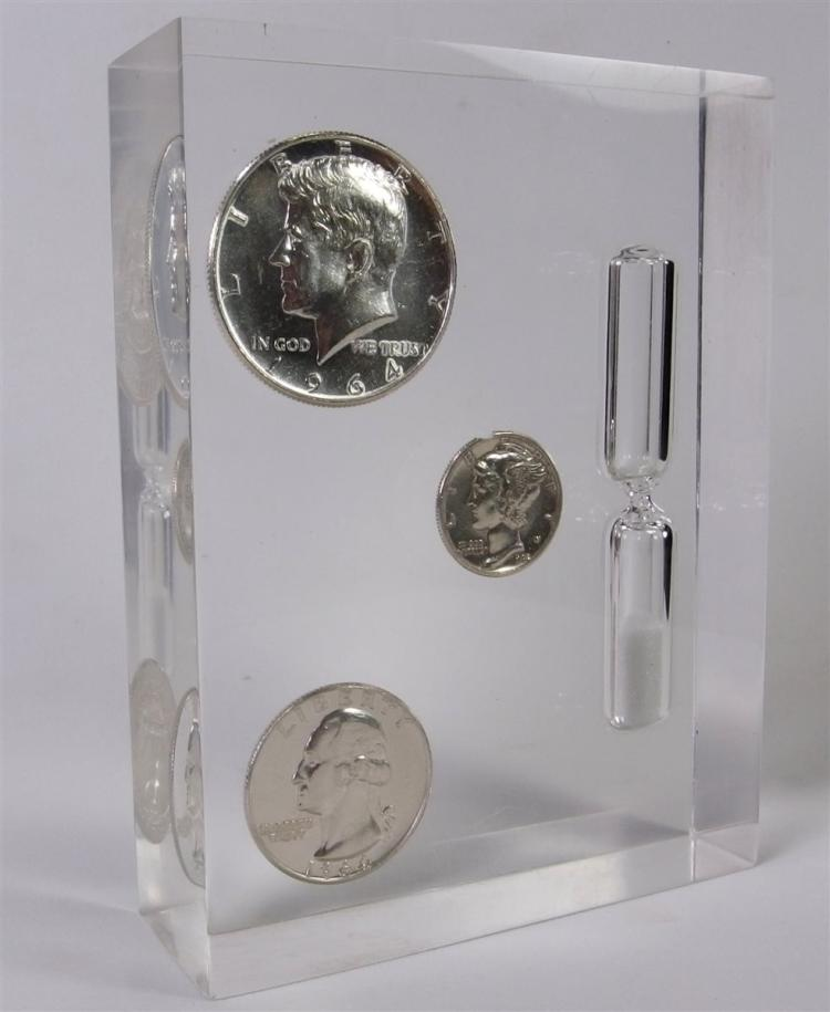 Sand Timer with 90% Silver Coins