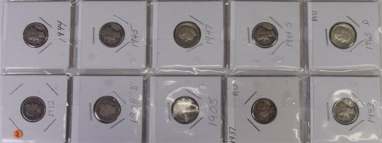 Lot of 10 - 90% Silver Dime Collection ($1) 0ne dollar in 90% silver