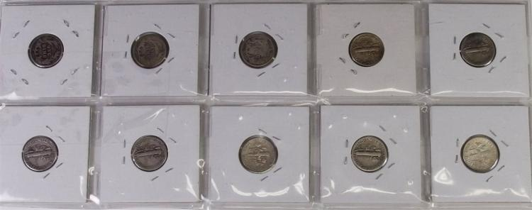 Lot 60: Lot of 10 - 90% Silver Dime Collection ($1) 0ne dollar in 90% silver