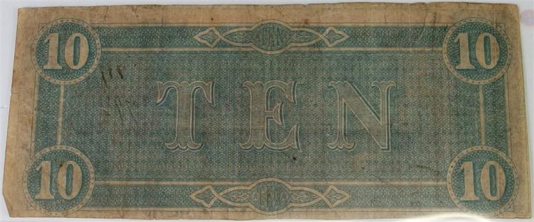 Lot 66: Confederate States of America Currency ($10) Ten Dollar CSA Note