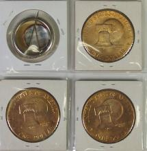 Lot 69: Lot of 4 - 3Gold Plated 1976 IKE Dollars & Election Button